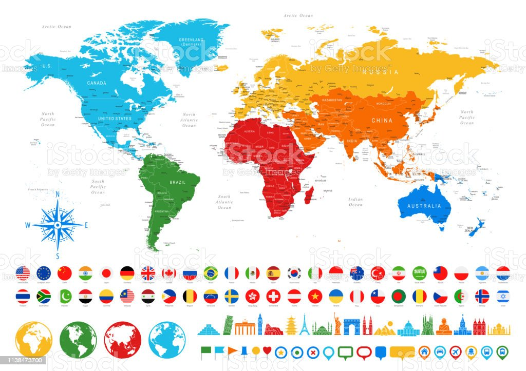 World Map Flags Travel Icons Borders Countries And Cities Vector Illustration on global flags, world map banner, world map with countries, world map countries of the world, us state flags, world map europe, world map engraving, middle east flags, world map apparel, african flags, world map wallets, german flags, north american flags, world map us states, globe flags, country flags, world map wall graphics, russia flags, world map bookmarks, usa maps flags,