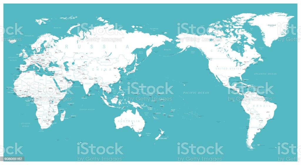 世界地図フラット - アジア センター ベクターアートイラスト