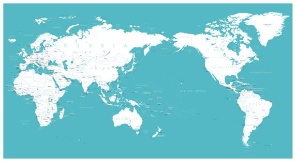 世界地図フラット - アジア センター - 世界地図点のイラスト素材/クリップアート素材/マンガ素材/アイコン素材