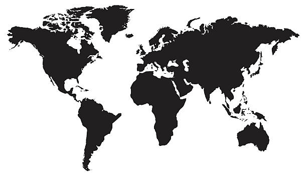 world map flat design in black and white - antarctica travel stock illustrations