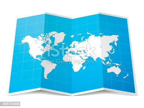 istock World Map folded, isolated on white Background 503704948