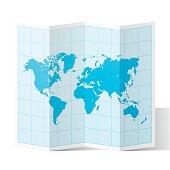 World Map folded and isolated on white background.