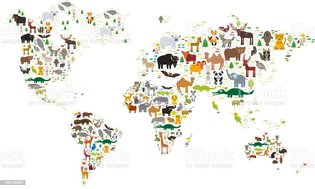 World map for children animals from all over the world stock vector world map for children animals from all over the world royalty free world map gumiabroncs Gallery