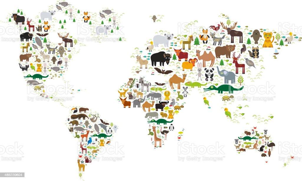 world map for children, Animals from all over the world vector art illustration