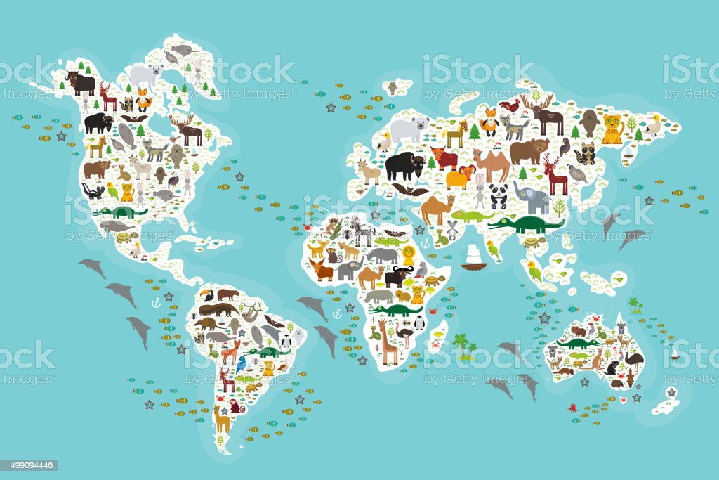 world map for children, Animals from all over the world vector art illustration