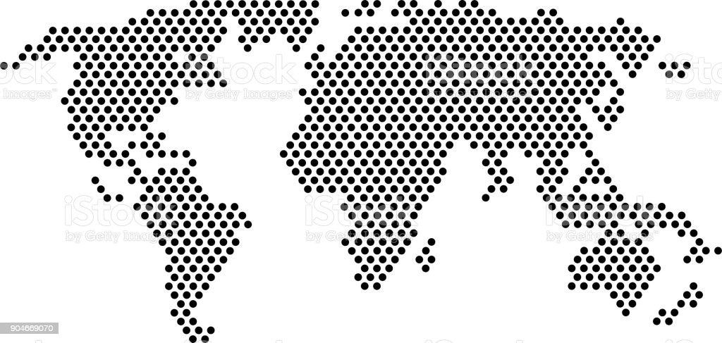 Dot World Map.World Map From Black Dot Formation At White Background Stock Vector