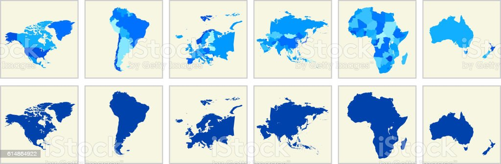 World Map Geography Deatiled Vector Illustration in Blue – Vektorgrafik