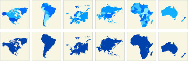 world map geography deatiled vector illustration in blue - südamerika landkarte stock-grafiken, -clipart, -cartoons und -symbole