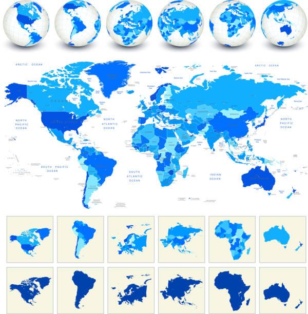 Carte du monde de géographie - Illustration vectorielle
