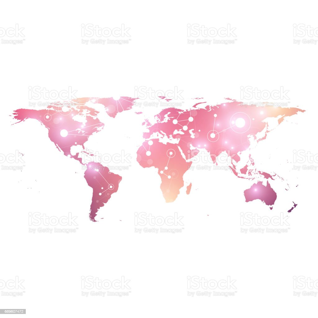 World Map Geometric Graphic Background Communication Big Data