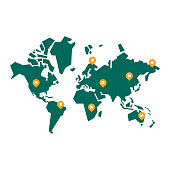 Vector illustration of a minimalistic and geometric shaped world map. Design element great for technology and business ideas and concepts, social media platforms, global communications, travel and transportation.