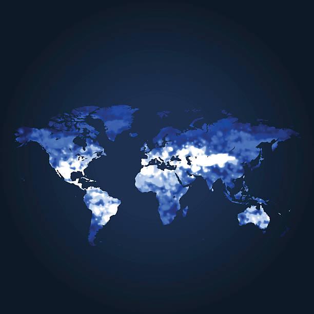 weltkarte global eiszeit auf blauem hintergrund - eiszeit stock-grafiken, -clipart, -cartoons und -symbole