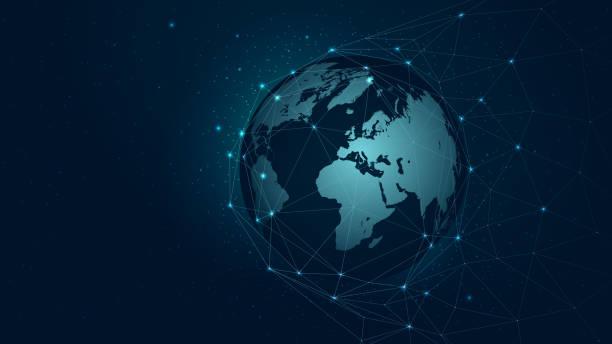 bildbanksillustrationer, clip art samt tecknat material och ikoner med världen karta globala nätverksanslutning, vektor bakgrund teknik futuristiska plexus - internationellt företagande