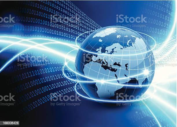 Weltkarte Welt Binärcode Hintergrund Globalen Kommunikation Stock Vektor Art und mehr Bilder von Abstrakt