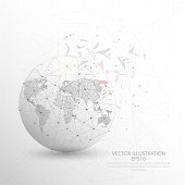 World map globe point, line and composition digitally drawn in the form of broken a part triangle shape and scattered dots low poly wire frame on white background.