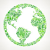 World Map Globe On Green Environmental Conservation and Nature royalty free vector interface icon pattern. This royalty free vector art features nature and environment icon set pattern. The major color is green and icons include trees, leaves, energy, light bulb, preservation, solar power and sun. Icon download includes vector art and jpg file.