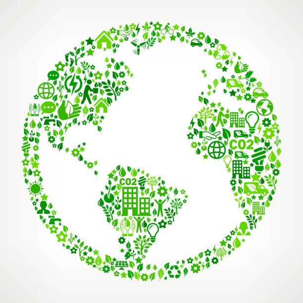 World Map Globe Environmental Conservation and Nature interface icon Pattern World Map Globe On Green Environmental Conservation and Nature royalty free vector interface icon pattern. This royalty free vector art features nature and environment icon set pattern. The major color is green and icons include trees, leaves, energy, light bulb, preservation, solar power and sun. Icon download includes vector art and jpg file. pattern stock illustrations