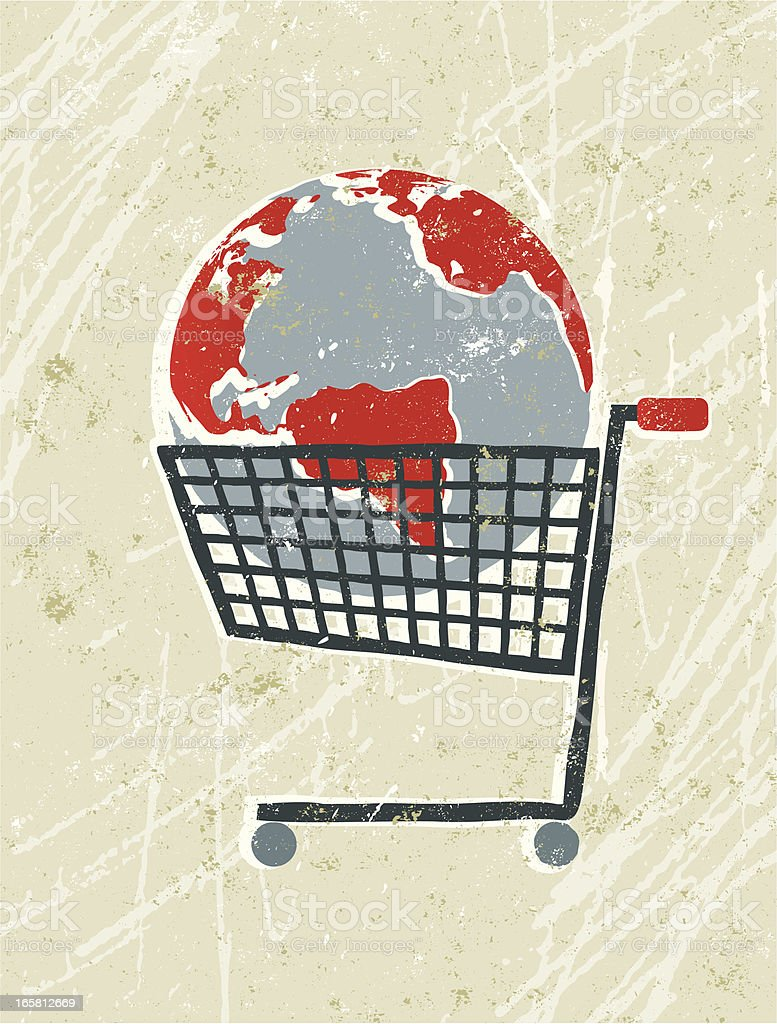 World Map Globe in a Shopping Trolley vector art illustration