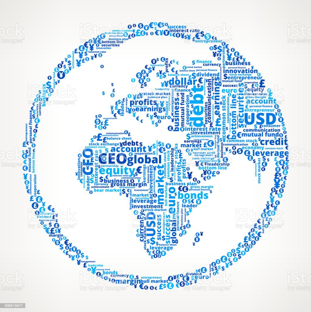 World map globe on business and finance word cloud stock vector art world map globe on business and finance word cloud royalty free world map globe on gumiabroncs Choice Image