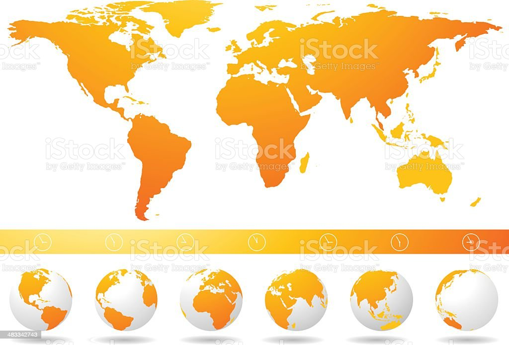 World map globes and time zones stock vector art more images of world map globes and time zones royalty free world map globes and time zones gumiabroncs Choice Image