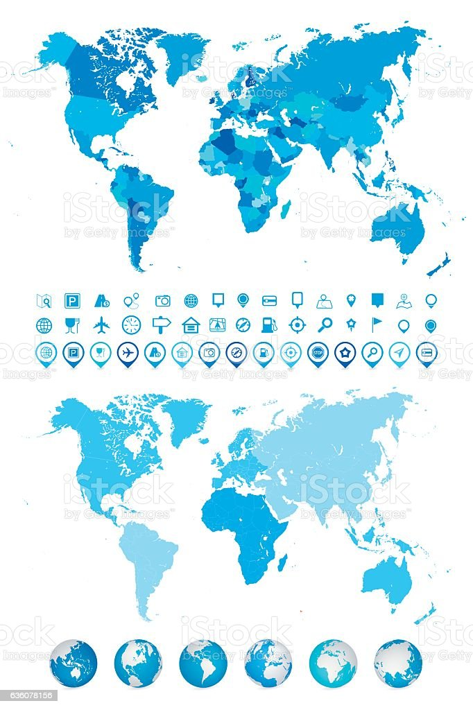 World Map Globes Continents And Navigation Icons Stock ...