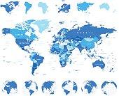 World Map, Globes, Continents - illustration