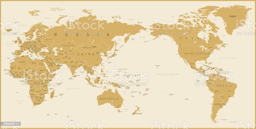 Mundo mapa oro detallada asia en el centro arte vectorial de stock mundo mapa oro detallada asia en el centro mundo mapa oro detallada asia en el gumiabroncs Image collections