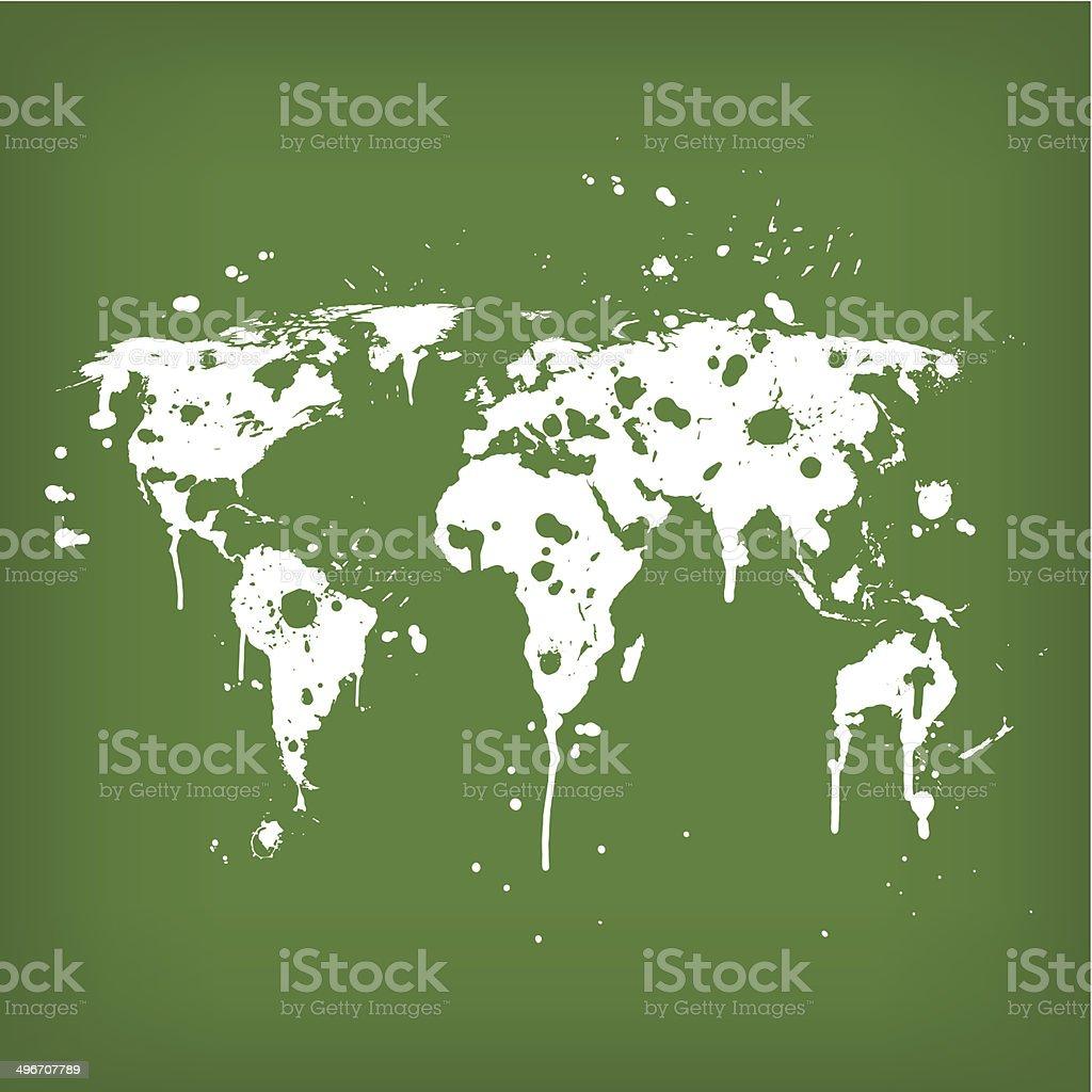 World map graffiti green royalty-free stock vector art