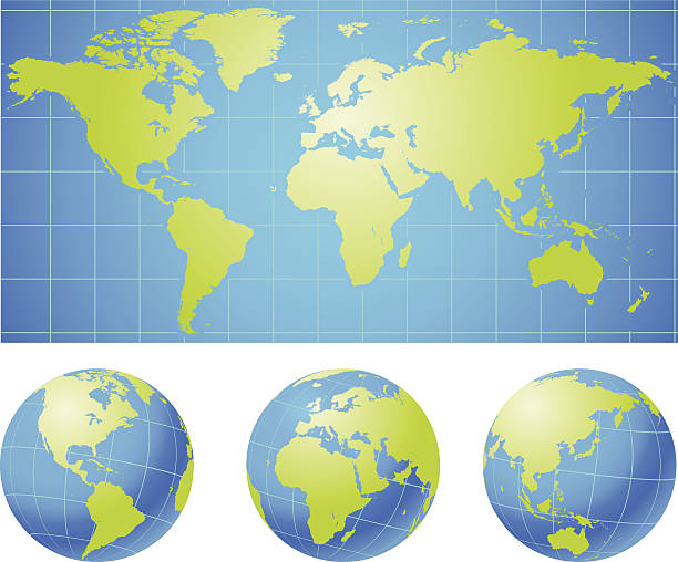 Weltkarte mit Globen – Vektorgrafik