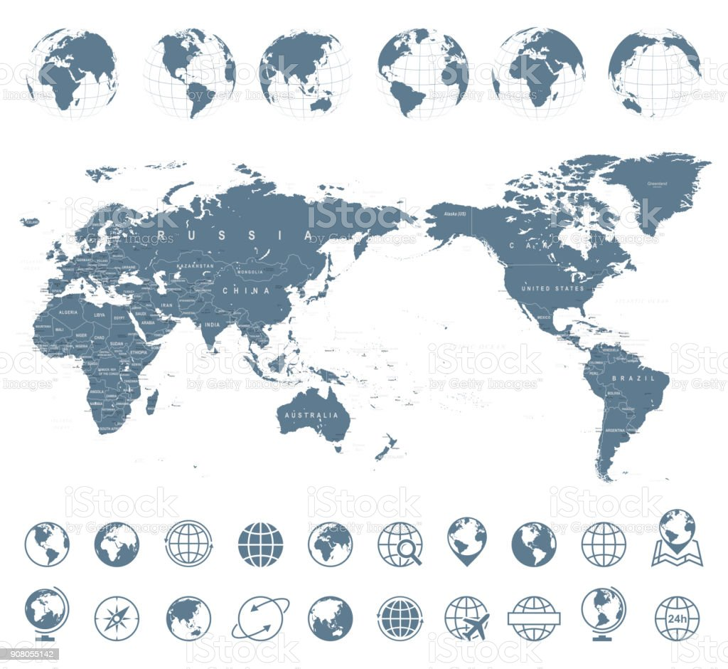 World Map Gray - Asia in Center royalty-free world map gray asia in center stock illustration - download image now