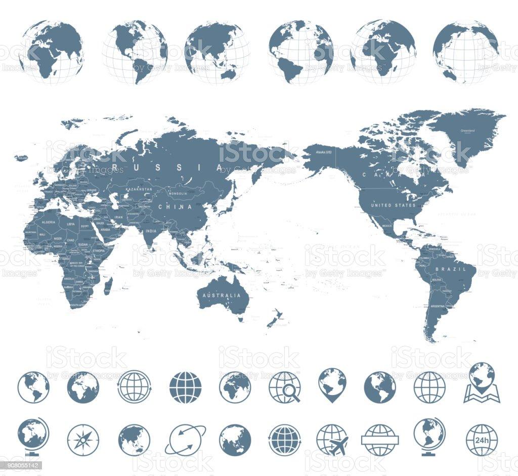 世界地図の灰色 - アジア センター ベクターアートイラスト