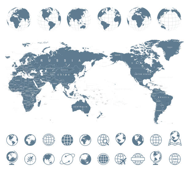 world map gray - asia in center - close up stock illustrations, clip art, cartoons, & icons