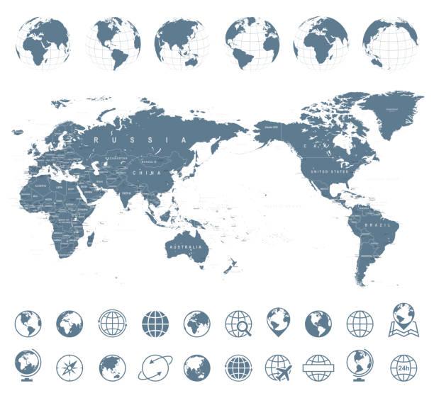 世界地図の灰色 - アジア センター - アジア点のイラスト素材/クリップアート素材/マンガ素材/アイコン素材
