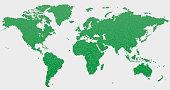 World Map Green Hexagon Pattern