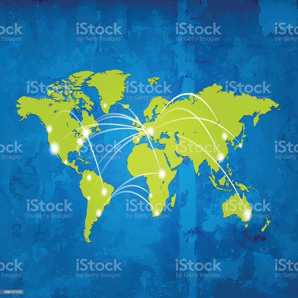 World map green map cities connected blue grunge wood background world map green map cities connected blue grunge wood background world map green map cities connected gumiabroncs Gallery