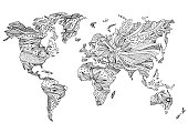 world map hand drawn flower floral design vector