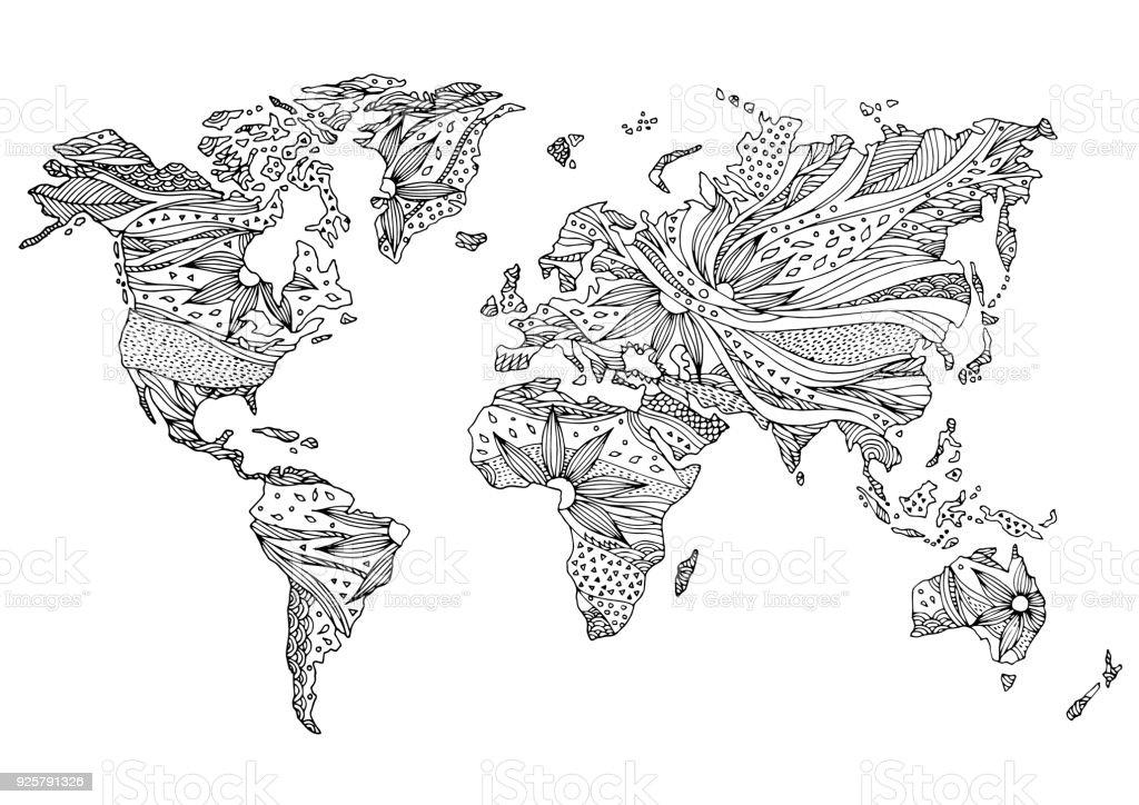 Welt Karte Hand gezeichnete Blumen florales Design Vektor – Vektorgrafik