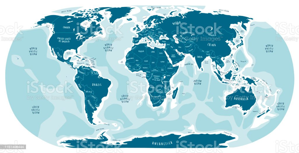 World Map Hand Drawn Illustration With English Labels Cartoon Style Blue  Color Stock Illustration - Download Image Now