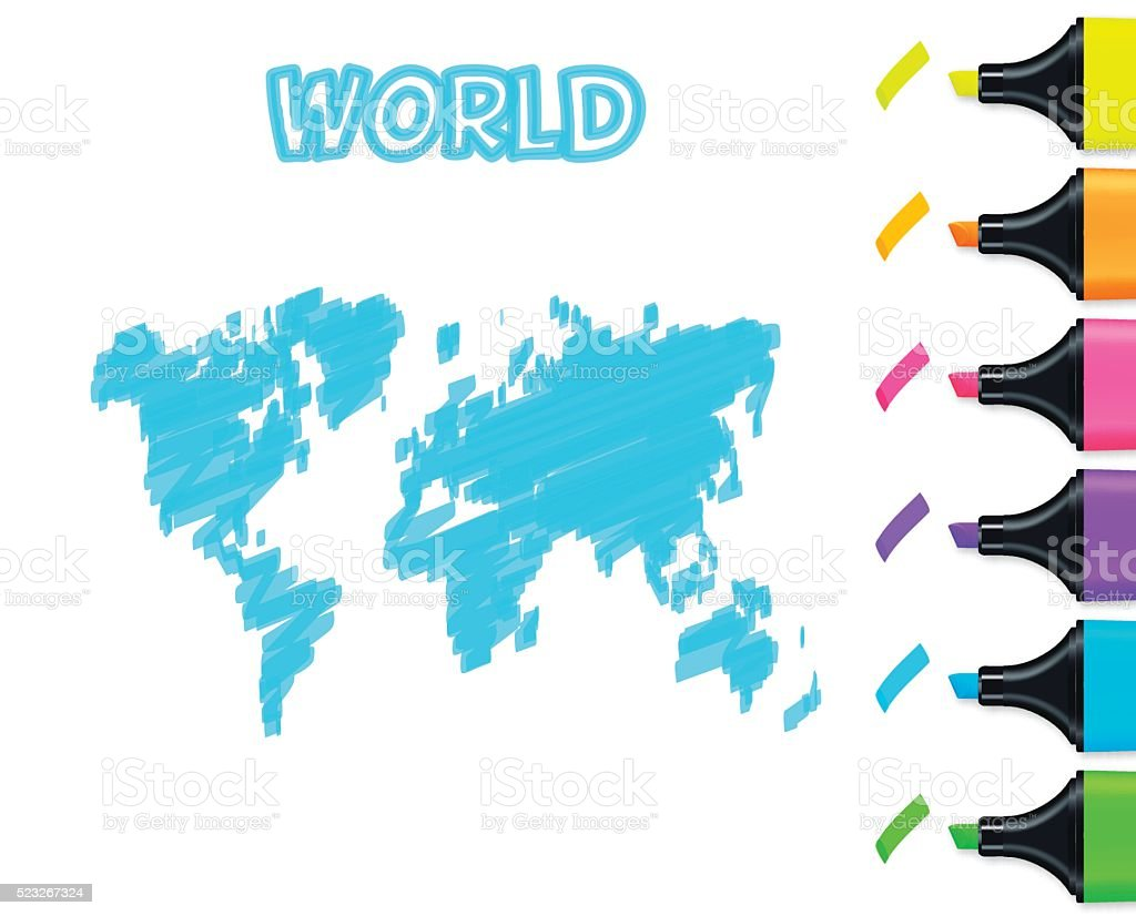 world map hand drawn on white background blue highlighter royalty free world map hand