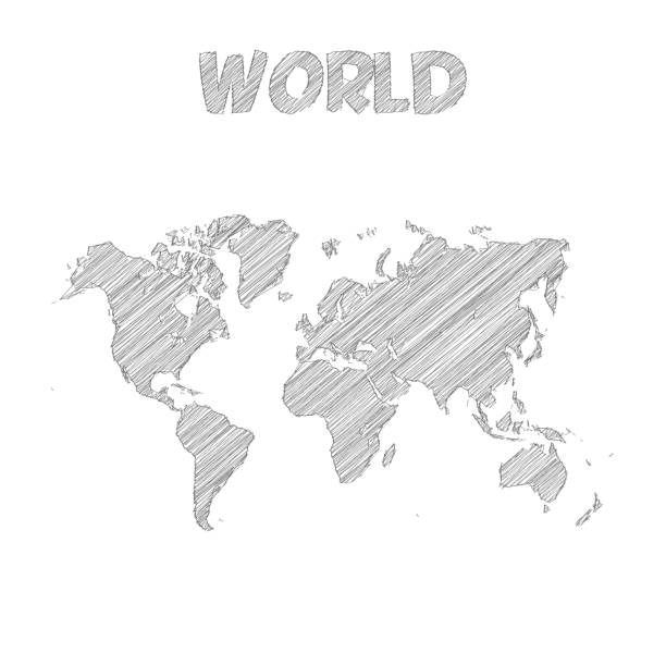 Royalty free world map drawing clip art vector images world map hand drawn on white background vector art illustration gumiabroncs Choice Image