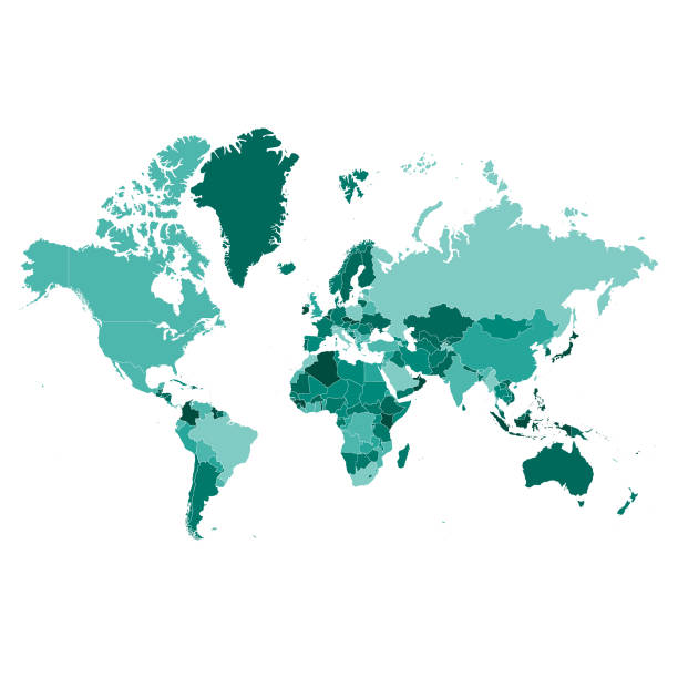 World map high detail Vector illustration of a highly detailed world map land feature stock illustrations