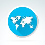 World Map icon, Flat Design, Long Shadow