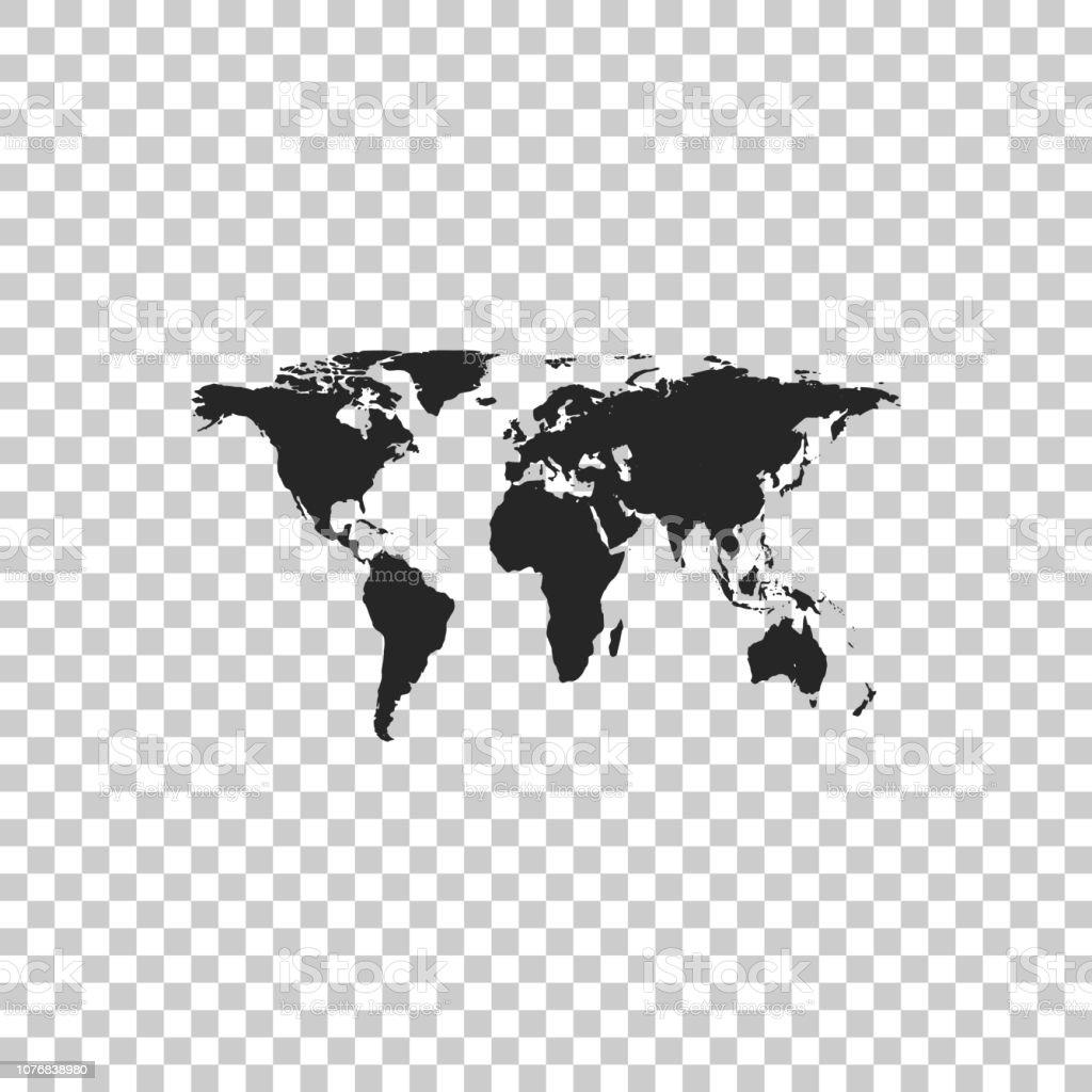 World Map Icon Isolated On Transparent Background Flat