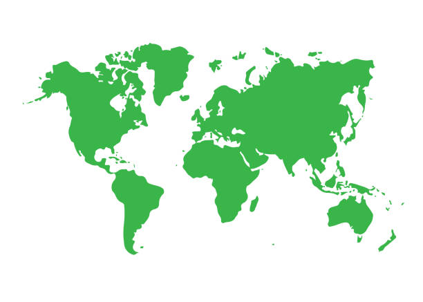 세계 지도 아이콘 흰색 배경에 고립입니다. 벡터 일러스트입니다. - 단순함 stock illustrations