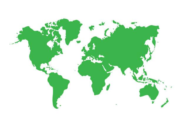world map icon isolated on white background. vector illustration. - prostota stock illustrations