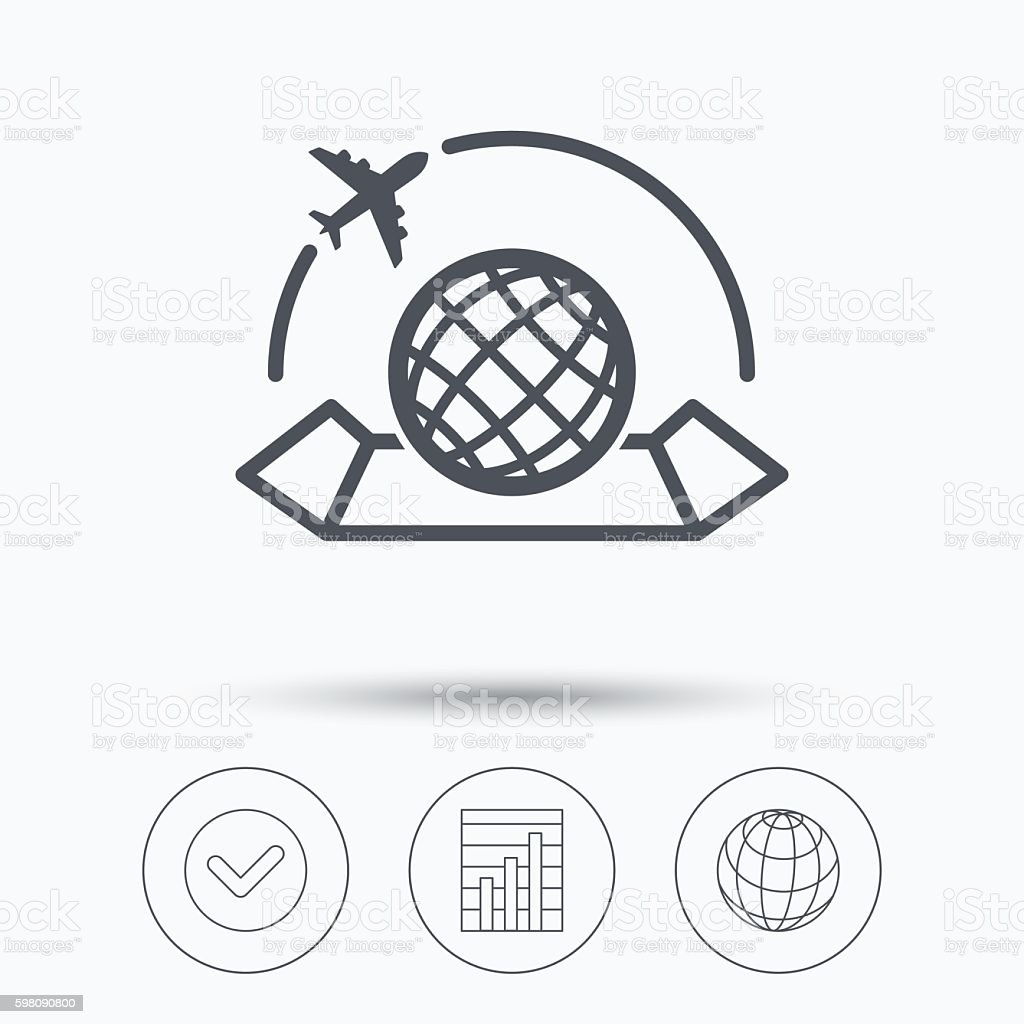World map icon plane travel sign arte vectorial de stock y ms world map icon plane travel sign world map icon plane travel sign arte gumiabroncs Gallery
