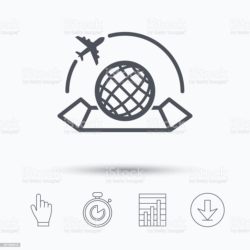 World map icon plane travel sign stock vector art more images of world map icon plane travel sign royalty free world map icon plane travel gumiabroncs Images