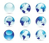 A royalty-free globe and world map icon set.  See more of the series below.