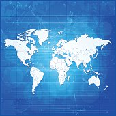 World map icy white on blue dirty metal grid background. Hires JPEG (5000 x 5000 pixels) and EPS10 file included.