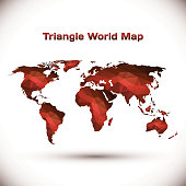 World map illustrated in red geometric triangles